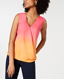 Alfani Petite Ombré Surplice Top, Created for Macy's