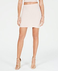 Material Girl Juniors' Lace-Up Rib-Knit Mini Skirt, Created for Macy's
