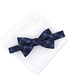Alfani Men's Check Pre-Tied Bow Tie & Solid Pocket Square Set, Created for Macy's
