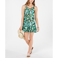 Miken Printed Ruffle-Hem Cover-Up Dress