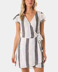 O'Neill Juniors' Maureen Flutter-Sleeve Wrap Dress
