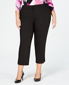 Alfani Plus Size Cropped Hardware-Trim Pants, Created for Macy's
