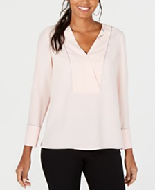 Alfani Embellished V-Neck Top, Created for Macy's