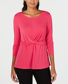 Alfani Petite Twisted Top, Created for Macy's