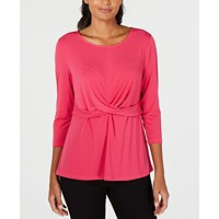 Macys deals on Alfani Petite Twisted Top
