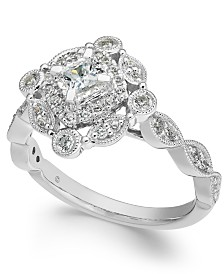 Diamond Vintage-Inspired Halo Ring (1/2 ct. t.w.) in 14k White Gold