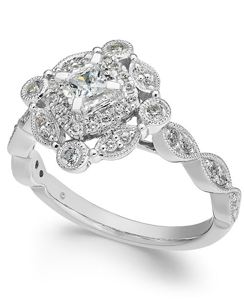 Macy's Diamond Vintage-Inspired Halo Ring (1/2 ct. t.w.) in 14k White Gold