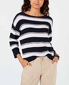Tommy Hilfiger Striped Drop-Shoulder Sweater, Created for Macy's