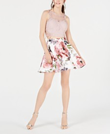 City Studios Juniors' Solid Top & Floral Skirt