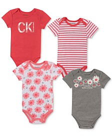 Calvin Klein Baby Girls 4-Pk. Striped & Printed Bodysuits