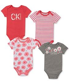 Calvin Klein Baby Girls 4-Pk. Striped & Printed Bodysuits