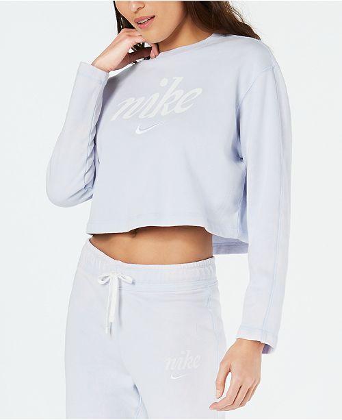 Nike Sportswear Cotton Washed Cropped Sweatshirt