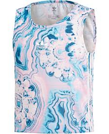 Adidas Originals Big Girls Marble-Print Tank Top