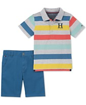 Tommy Hilfiger Baby Boys 2 Pc Striped Polo Shirt Twill Shorts Set