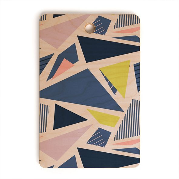 Deny Designs Color Blocking Triangles 1 Rectangle Cutting Board