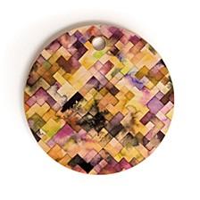 Moody Geometry Purple Round Cutting Board