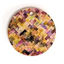 Deny Designs Ninola Design Moody Geometry Purple Round Cutting Board
