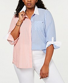 Plus Size Cotton Two-Tone Striped Shirt, Created for Macy's