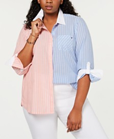 Tommy Hilfiger Plus Size Cotton Two-Tone Striped Shirt, Created for Macy's