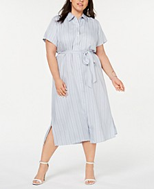 Plus Size Striped Belted Shirtdress