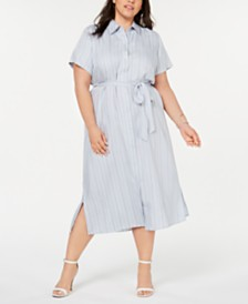 Seven7 Jeans Plus Size Striped Belted Shirtdress