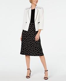 Kasper Crepe Jacket & Printed Midi Skirt