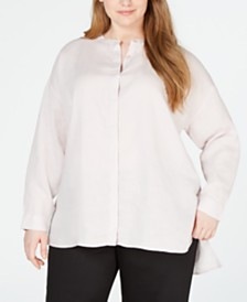 Eileen Fisher Plus Size Organic Linen High-Low Shirt