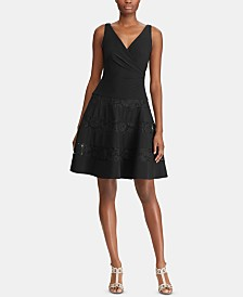 Lauren Ralph Lauren Lace-Trim Ruched Dress