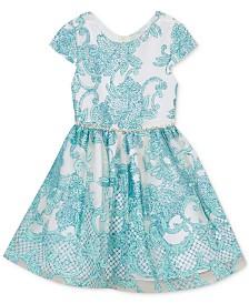 Rare Editions Little Girls Cap-Sleeve Glitter Embroidered Dress