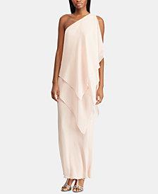 Lauren Ralph Lauren Chiffon One-Shoulder Gown