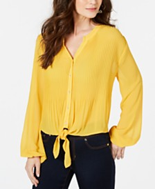 Thalia Sodi Pleated Tie-Front Printed Blouse, Created for Macy's