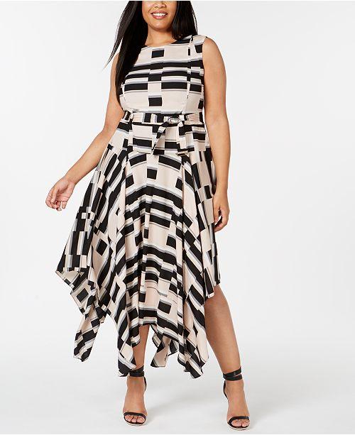 Calvin Klein Plus Size Printed Handkerchief-Hem Dress & Reviews ...