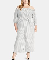 09c3c14613c RACHEL Rachel Roy Plus Size Striped Off-The-Shoulder Jumpsuit