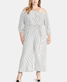 RACHEL Rachel Roy Plus Size Striped Off-The-Shoulder Jumpsuit