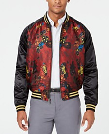 Tallia Men's Slim-Fit Floral Jacquard Bomber Jacket
