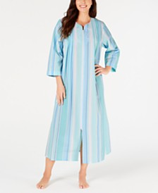 Miss Elaine Printed Seersucker Long Zip-Up Robe