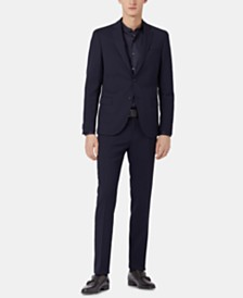 BOSS Men's Slim Fit Micro-Patterned Virgin Wool Suit