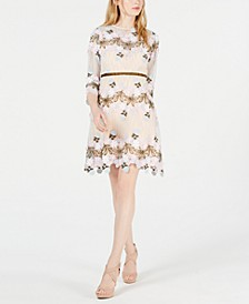 Floral Appliqué Fit & Flare Dress