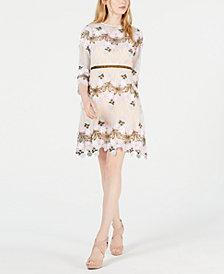 foxiedox Floral Appliqué Fit & Flare Dress