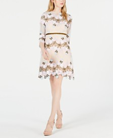 foxiedox Floral Appliqué Fit & Flare Dress