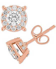 Diamond Halo Two-Level Stud Earrings (1 ct. t.w.) in 14k White, Yellow or Rose Gold