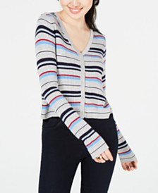 Ultra Flirt Juniors' Striped Cropped Cardigan