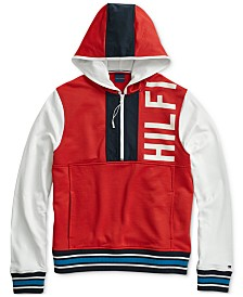 Tommy Hilfiger Adaptive Men's Colorblocked Logo  Hoodie with Extended Zipper Pull