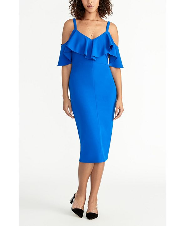 RACHEL Rachel Roy Off The Shoulder V-Neck Ruffle Dress