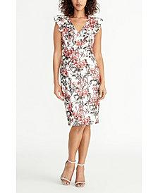 RACHEL Rachel Roy Sleeveless Printed Lace Ruffle Front Dress