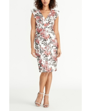 Rachel Rachel Roy Dresses SLEEVELESS PRINTED LACE RUFFLE FRONT DRESS