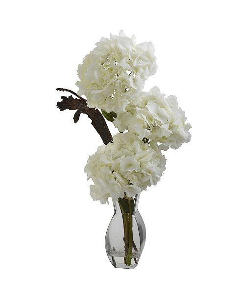 Nearly Natural Triple Hydrangea w/ Vase