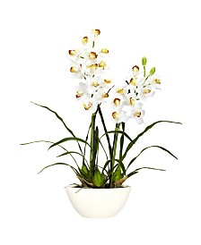 Nearly Natural Cymbidium w/White Vase Silk Flower Arrangement