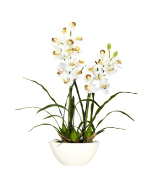 Nearly Natural Cymbidium w/White Vase Silk Flower Arrangement