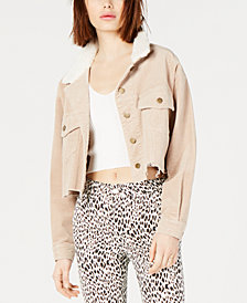 T.D.C. Topson Cropped Faux-Shearling Corduroy Jacket